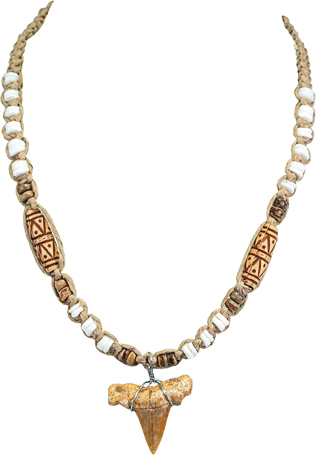 BlueRica Shark Tooth Pendant on Hemp Necklace with Puka Shell Beads (2S)