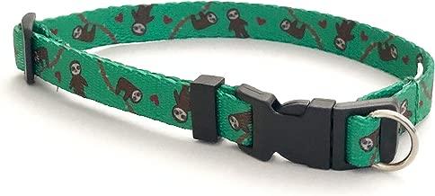 Safe Cinch Dog Collar - Keep Your Dog Safe! - Hank The Sloth on Green Handmade in The USA