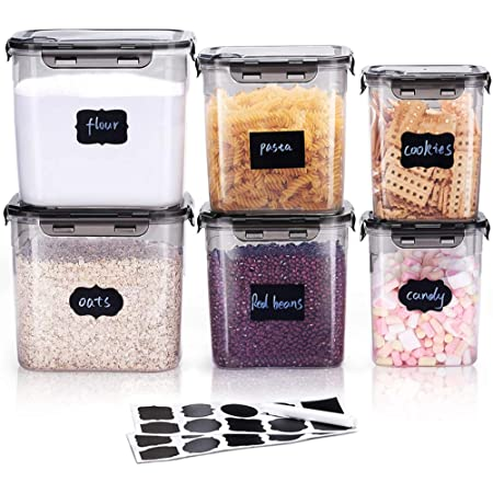 LARDERGO Cereal Container, 6 Pieces Plastic Flour Storage Containers, BPA Free Food Storage Containers with Lids Airtight for Sugar and Spaghetti - 20 Labels