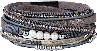 GelConnie Leather Cuff Bracelets Gorgeous Boho Beads Wrap Bracelet Magnetic Multi Strand Bracelets Bohemian Jewelry for Women, Wife