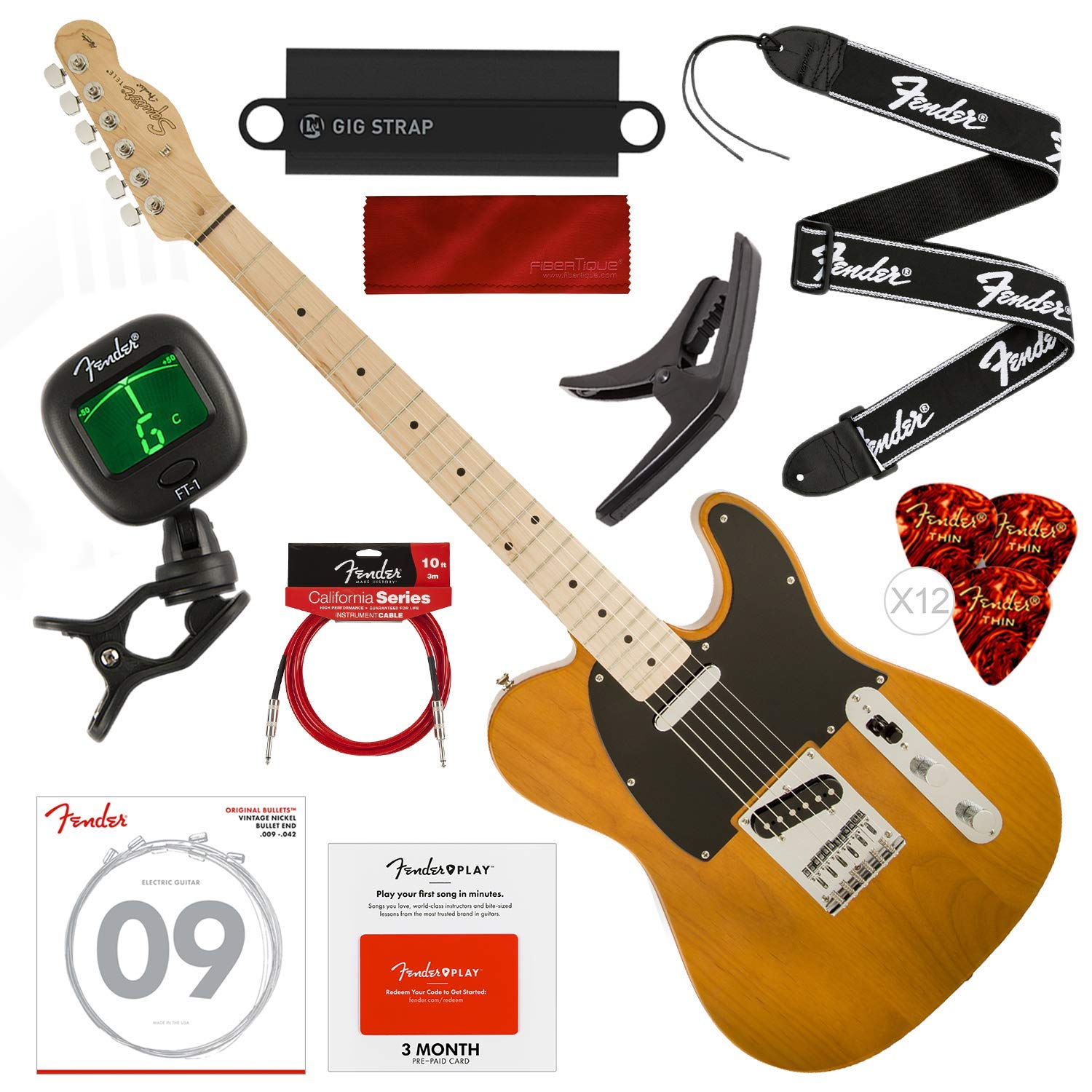 Cheap Squier by Fender Affinity Series Telecaster Beginner Electric Guitar Butterscotch Blonde with Fender Play Pre-Paid Card Tuner Strap Strings Picks Cable & Deluxe Starter Pack Bundle Black Friday & Cyber Monday 2019