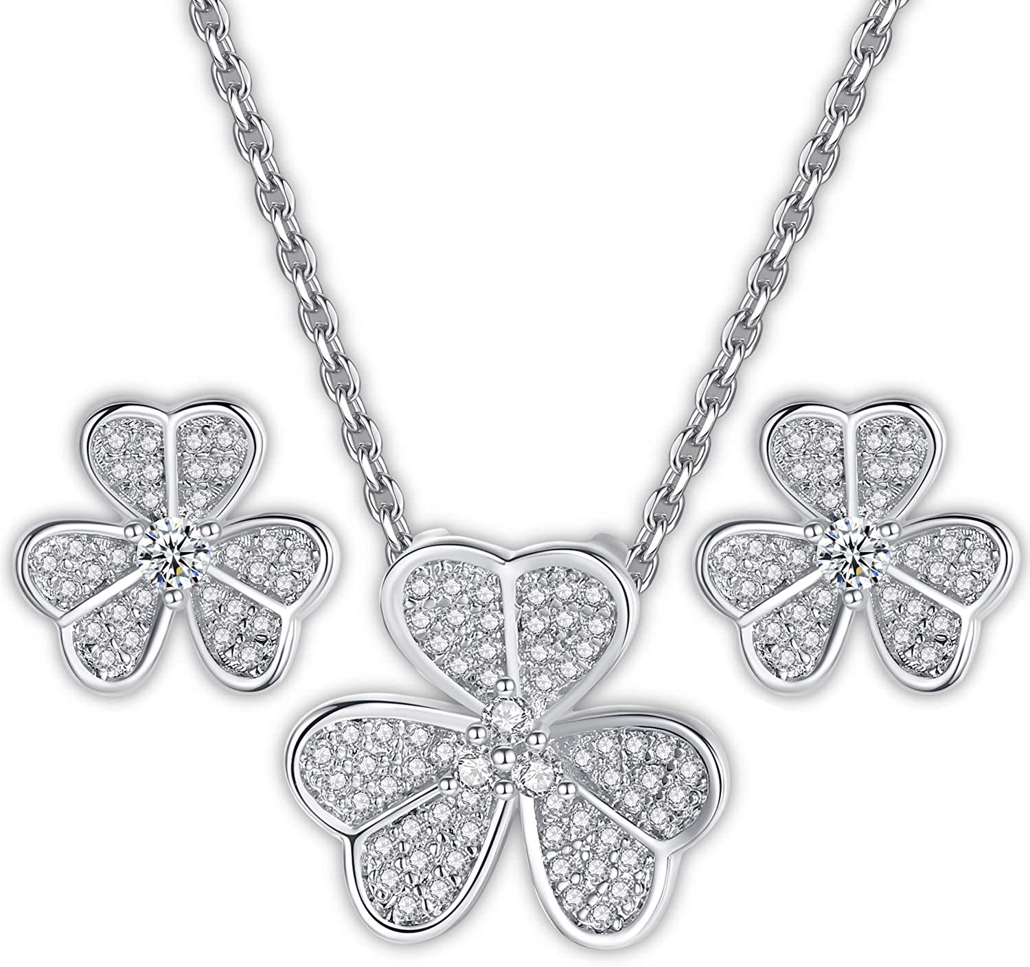 GoSparkling Four Leaf Clover Jewelry Set – Pendant Necklace & Earrings Set with Cubic Zirconia – Mother & Women's Day Rhodium Plated Jewelry – 3D Graphic Bridal Necklace – Exquisite Elegant Accessory
