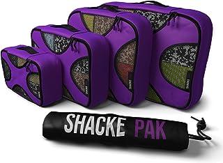Shacke Pak - 4 مجموعات صناديق تعبئة - منظمات السفر مع حقيبة غسيل
