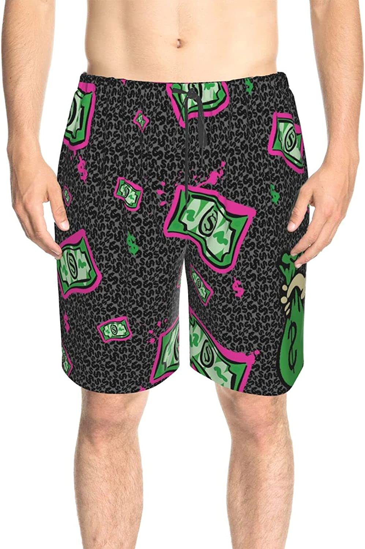 JINJUELS Mens Bathing Suits Falling Us Dollars Swim Boardshorts Fast Dry Fashion Summer Beach Shorts with Mesh Lining