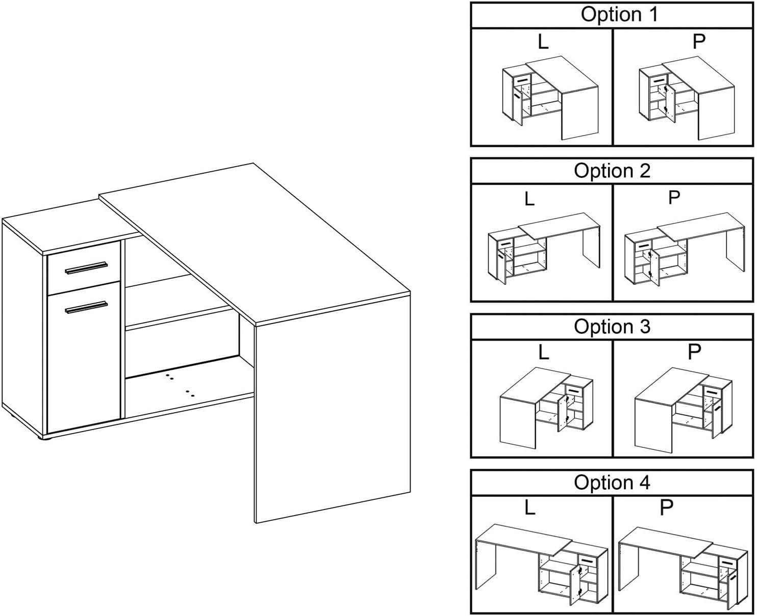 Bureau dangle Isotta Table avec Meuble de Rangement int/égr/é et modulable avec 2 /étag/ères 1 Porte et 1 tiroir en m/élamin/é d/écor ch/êne Sauvage et b/éton fonc/é