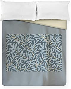 Willow Bough by William Morris Botanical Pattern in Blue & Gold A-9015172 (88x88 Queen Microfiber Duvet Cover)
