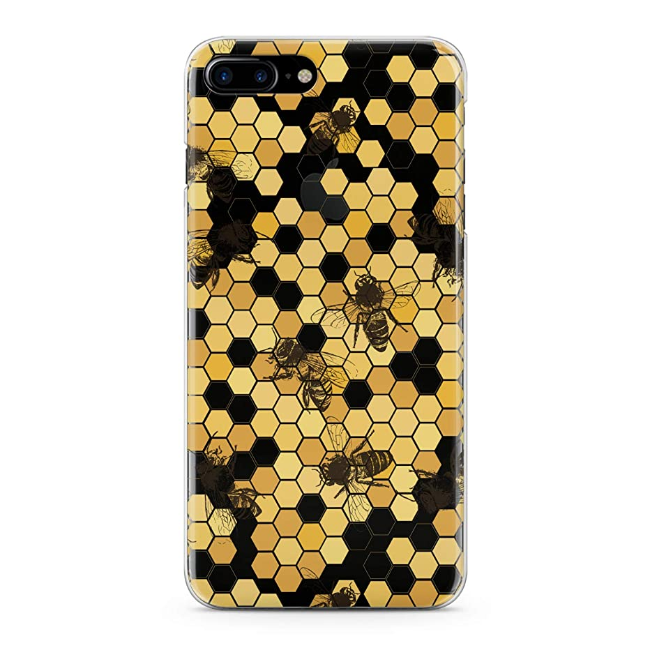 Lex Altern TPU Case for iPhone Apple Xs Max Xr 10 X 8+ 7 6s 6 SE 5s 5 Realistic Bees Clear Cover Honeycombs Slim fit Lightweight Yellow Print Soft Design Colorful Gift Flexible Woman Smooth Elegant