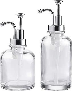 Whole Housewares Clear Glass Soap Lotion Dispenser Set, Unique Design Pump, for Bathroom, Kitchen, Farmhouse, Set of 2.