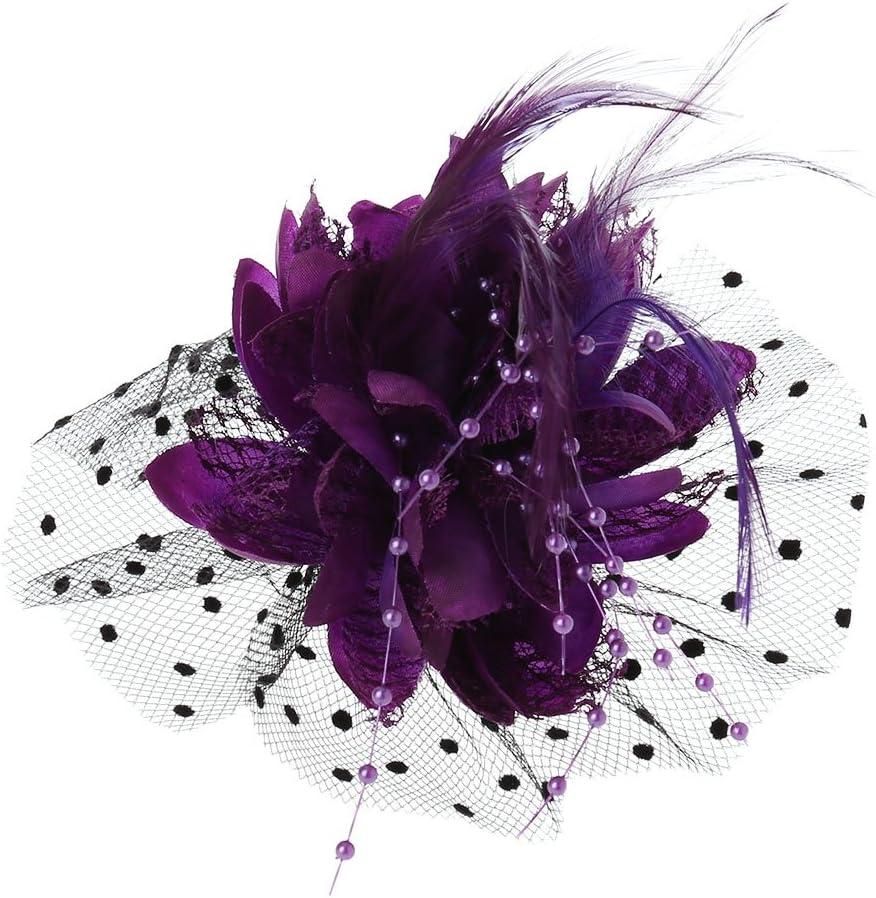 QUQUTWO Women Bridal Mesh Bow Feather Beads Wedding Fascinator Dot Veil Hair Clip Brooch Purple
