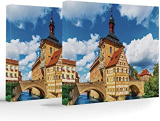 Framed Wall Art,Travel Decor,Each Panel has Hook Already Mounted on The Wooden bar for Easy Hanging,City Hall Building in Bamberg Germany European Historical Townscape Sunny Day