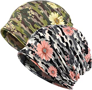 Jemis Womens Cotton Chemo Hat Beanie Scarf - Beanie Cap Bandana for Cancer (2 Pack Green and Grey)