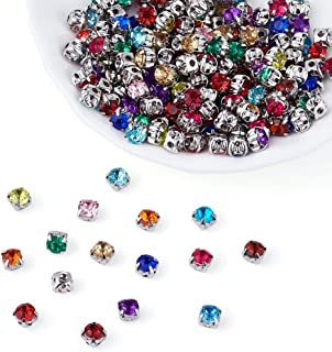 Pandahall 200pcs Rose Montee Beads Five-Holes Mixed Color Acrylic Rhinestone Crystal Beads with Brass Findings Clothing DIY Embellishment