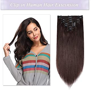 S-noilite Clip in Human Hair Extensions 100% Real Remy Thick True Double Weft Full Head 8 Pieces 18 clips Straight silky (22 inch - 160g,Dark Brown (#2))