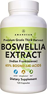Premium Boswellia Serrata Extract   500mg 120 Veggie Capsules   65% Boswellic Acids with AKBA   Natural Ayurvedic Suppleme...