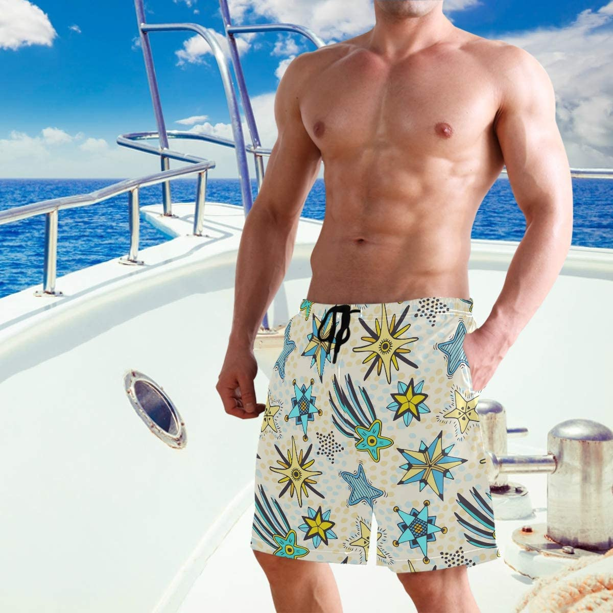 RunningBear Men's Swim Trunks - Stars Abstract Doodle Cartoon Beach Short Men Quick Dry Bathing Suit Shorts