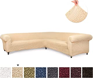 Sectional Sofa Cover - Corner Couch Cover - Corner Slipcover - Soft Polyester Fabric Slipcovers - 1-piece Form Fit Stretch Furniture Slipcover - Microfibra Collection - Vanilla (Corner Sofa)