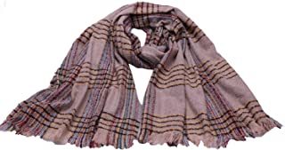 Womens long Plaid blanket Scarf Winter Soft Tartan Tassels Scarf Oversized Wrap Shawl Cape SC6