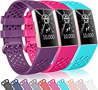 DigiHero Bands Compatible with Fitbit Charge 3,Replacement Breathable Accessory Sport Wrist Bands for Fitbit Charge 3 and Charge 3 SE Fitness Activity Tracker Women Men Small Large,3 Pack