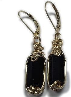 14K Gold Fill Black Tourmaline Earrings Healing Stone Crystal Jewelry 2GE ZP