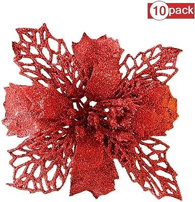 Babyyyon - Pack de 10 Adornos de árbol de Navidad con Purpurina ...