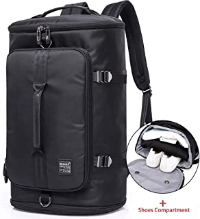 KAKA Travel Duffel Backpack, Outdoor Travel Bag with Shoe Compartment, Laptop Bookbag Weekender Overnight Carry On Daypack Water-Resistant College Bookbag Camping Rucksack Luggage for Men and Women