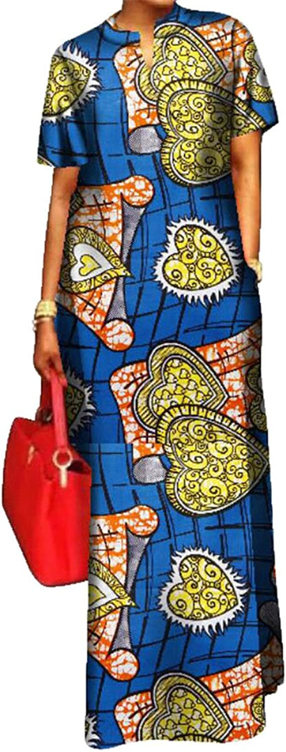XFuture Womens Elegant African Print Dashiki Pockets Cocktail Long Dress