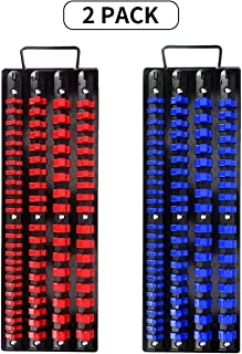 Holds 80 Sockets Black Rails with Clips Tools Portable Socket Organizer Tray Premium Quality Socket Holder Blue/&red