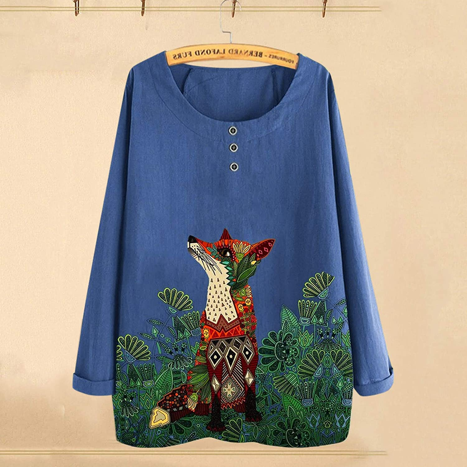 Gwewei4df Women Casual Long Sleeve Print Button Shi O-Neck Loose Challenge the lowest price of Japan ☆ Inexpensive