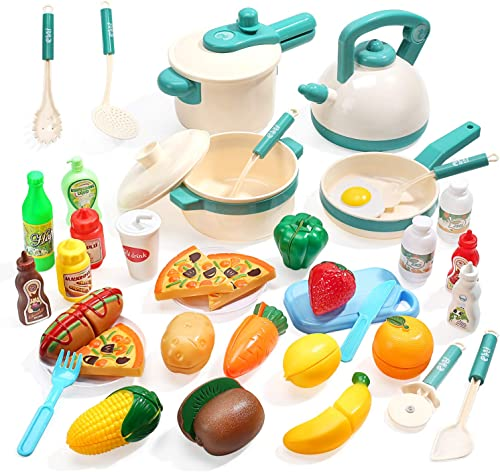 high quality CUTE STONE 40PCS Kids Kitchen Pretend Play Toys,Play Cooking Set with sale Pots and Pans,Cookware,Cutting Play Food,Vegetables,Fruits sale and Other Utensils Accessories,Great Gift for Toddles Infant Boys Girls online sale