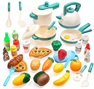 آشپزخانه کودکان و نوجوانان CUTE STONE 40PCS تظاهر به اسباب بازی ، بازی آشپزخانه با قابلمه و ماهی تابه ، وسایل آشپزی ، غذاهای مخصوص برش ، سبزیجات ، میوه ها و سایر وسایل آشپزخانه ، هدیه ای عالی برای کودکان نوپا دختران پسر