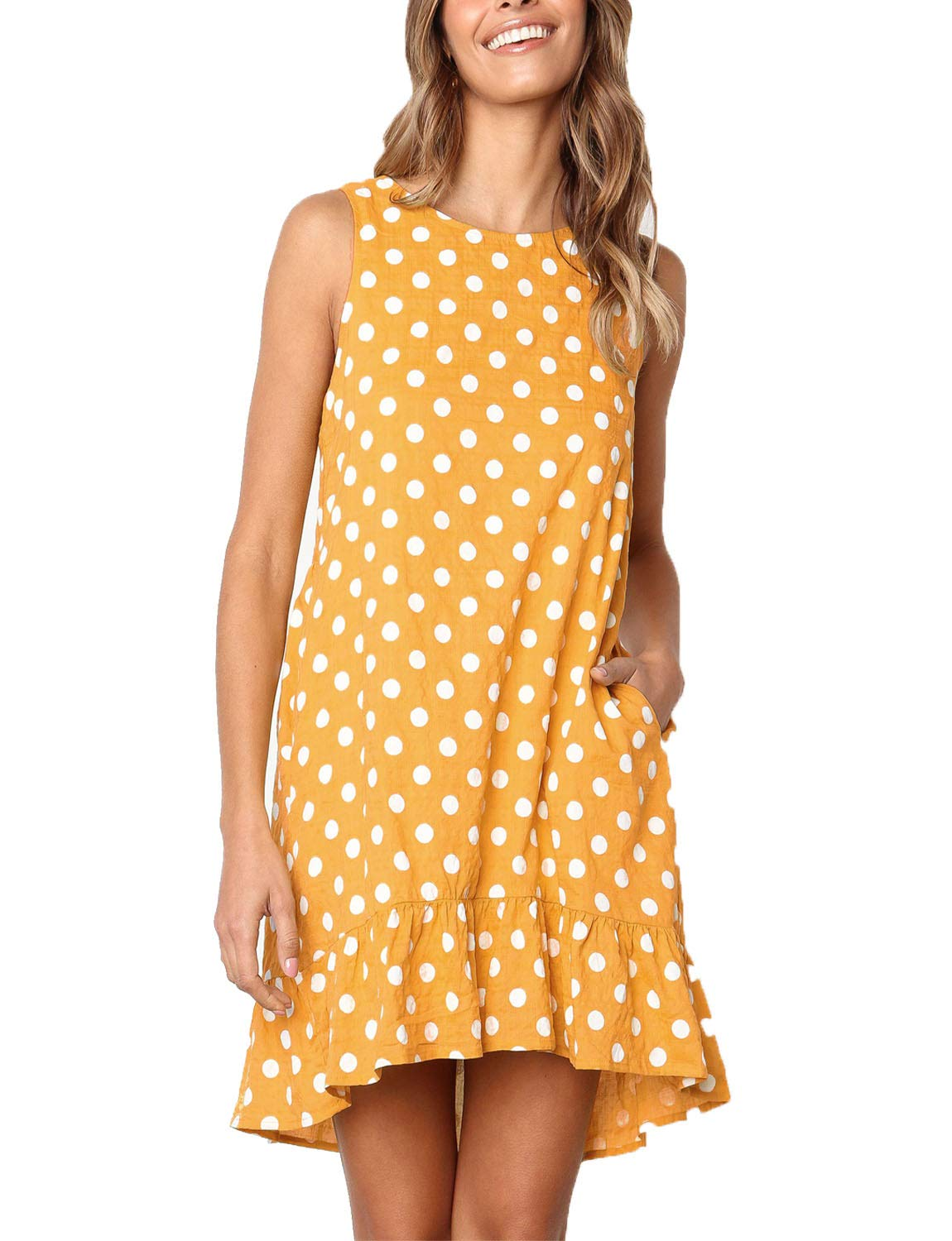 Available at Amazon: RULISHE Women's Casual Sleeveless Polka Dot Dress Ruffle Loose Swing T-Shirt Mini Dress with Side Pockets