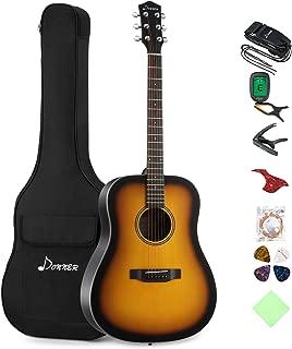 Donner Sunburst Acoustic Guitar Package DAG-1S Beginner Guitar Dreadnought With Bag Tuner Strap String Picks