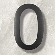 10 Inch House Numbers- Modern Floating Street Home Address Number-Large Contemporary Aluminum Brushed Finish Number, Black (Number 0)