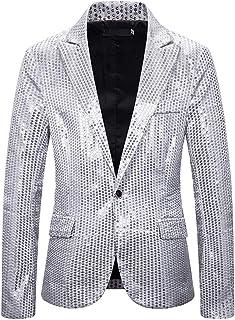 Giacca da Uomo Manica Lunga Bottoni Risvolto giacce Smoking Glitter Paillettes Blazer Matrimonio Affari Casual Blazer Clas...