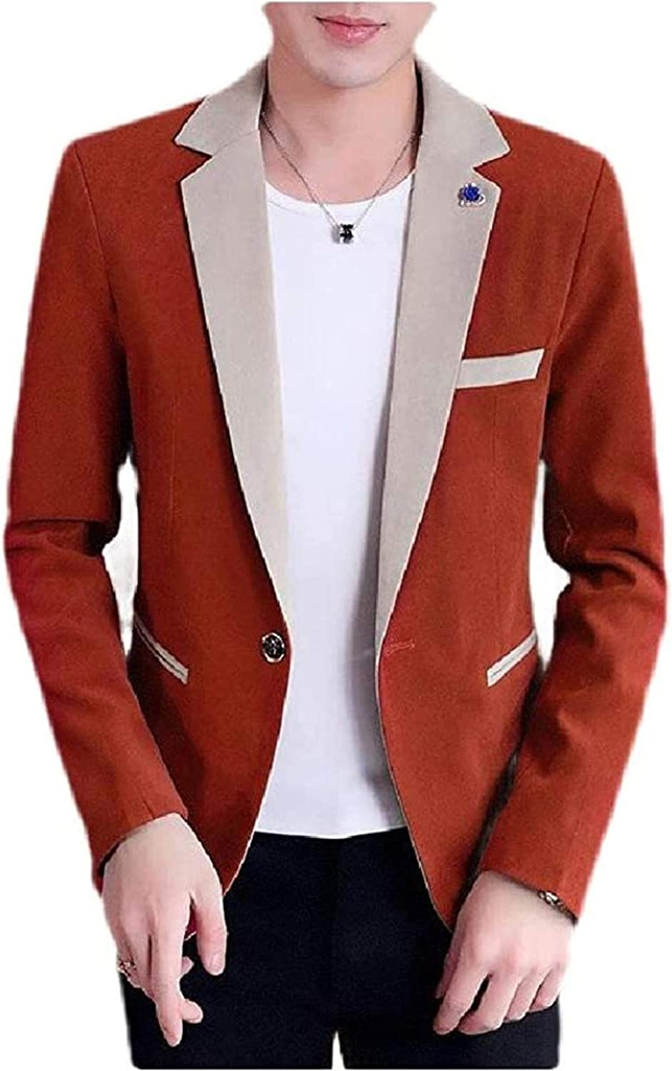 Men Slim Fit Notch New Free Shipping Business Contrast Button One Max 73% OFF Co Blazer Jacket