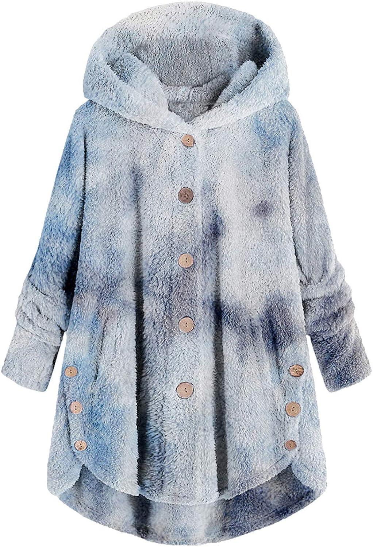 Women's Plus Size Hoodies Solid Long Sleeve Buttons Fleece Sweatshirt Loose Cardigan Coat Wool Oversize Pockets Pullover