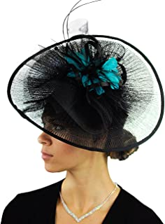 Cocktail Fashion Sinamay Fascinator Hat Feather & Flower Design S102450