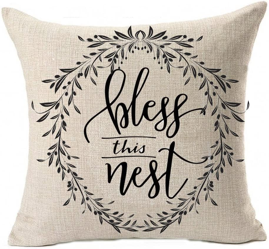 Qinu Keonu Love You More Bless This Nest Vine Wreath Olive Branch Cotton Linen Throw Pillow Case Cushion Square Cover Home Sofa Decorative 18 X 18 Inch A Home Kitchen