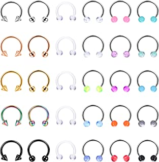 LOLIAS 30Pcs 16G Surgical Steel Horseshoe Nose Septum Rings Piercing Jewelry Cartilage Helix Tragus Earring Hoop Lip Horse...