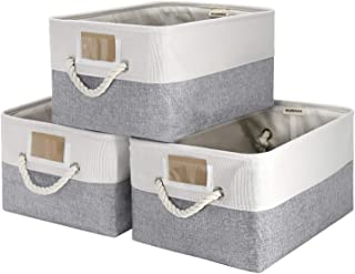 Foldable Storage Bins-3 Pack, Cube Storage Binswith Handles for Organizing Shelf, Collapsible Sturdy, Linen Fabric, Large...