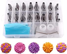 38 Pieces Cake Decorating Supplies Kit with 32 Icing Tips, 1 Silicone Pastry Bags, 2 Flower Nails, 2 Reusable Plastic Coup...