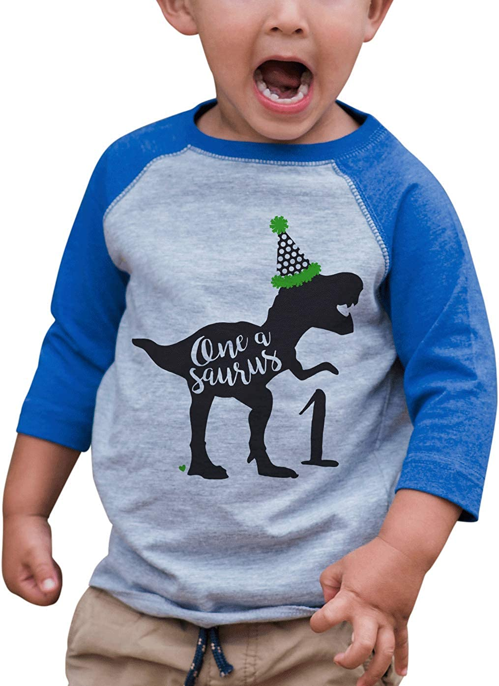 7 ate 9 Apparel Kid's One 1st 1 First Dinosaur Dino Birthday Blue Raglan Tee