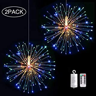 Firework Light,2 Pack Battery Operated Hanging Starburst Light 120 LED Bouquet Shape Lights,Fireworks Copper String Lights 8 Modes Dimmable with Remote Control for Outdoor Home Patio(Muli Color)