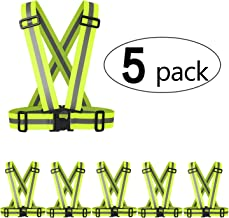 5 Pack Reflective Vest Lightweight Adjustable Safety Vest Running Vest Fully Adjustable & Multi-Purpose: Running, Cycling, Motorcycle Safety, Dog Walking - High Visibility Neon Green/Orange