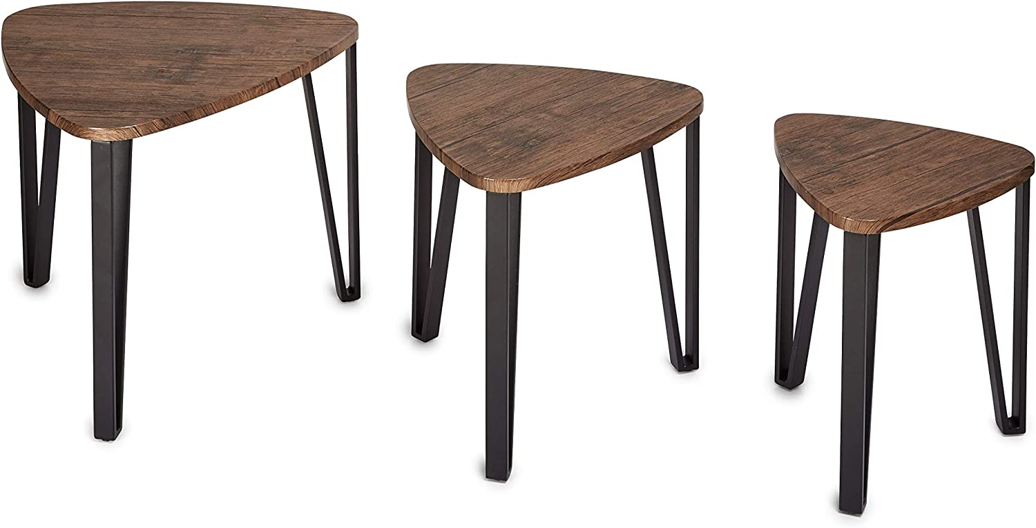 AdirHome Multifunctional End Side Table Night Stand Table Nesting Corner Table Corner Stacking Tables - Decorative Utility for Home & Office Use - Set of 3 (Espresso)