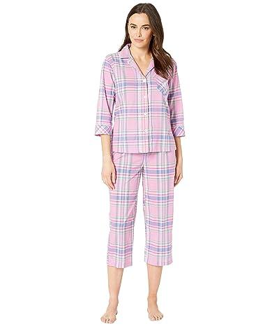 LAUREN Ralph Lauren Pointed Notch Collar Capris Pajama Set (Pink Plaid) Women