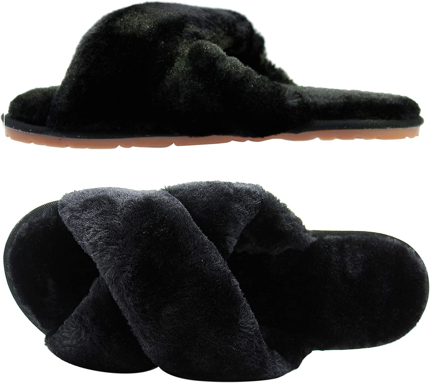 Women's OFFicial Fuzzy New sales Slippers Cross Band House Open Toe Slide