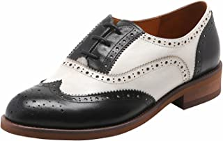 U-lite Women's Perforated Lace-up Wingtip Close Front Leather Flat Oxfords Vintage Oxford Shoes