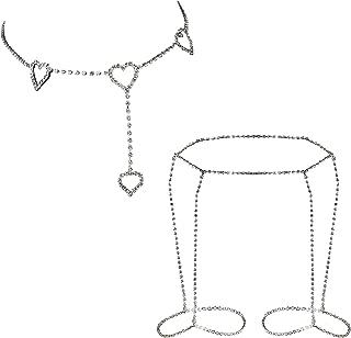 LOYALLOOK Diamond Sexy Belly Chain Retro Waist Belt Chains Summer Beach Bikini Swimsuit Body Jewelry 2Pcs