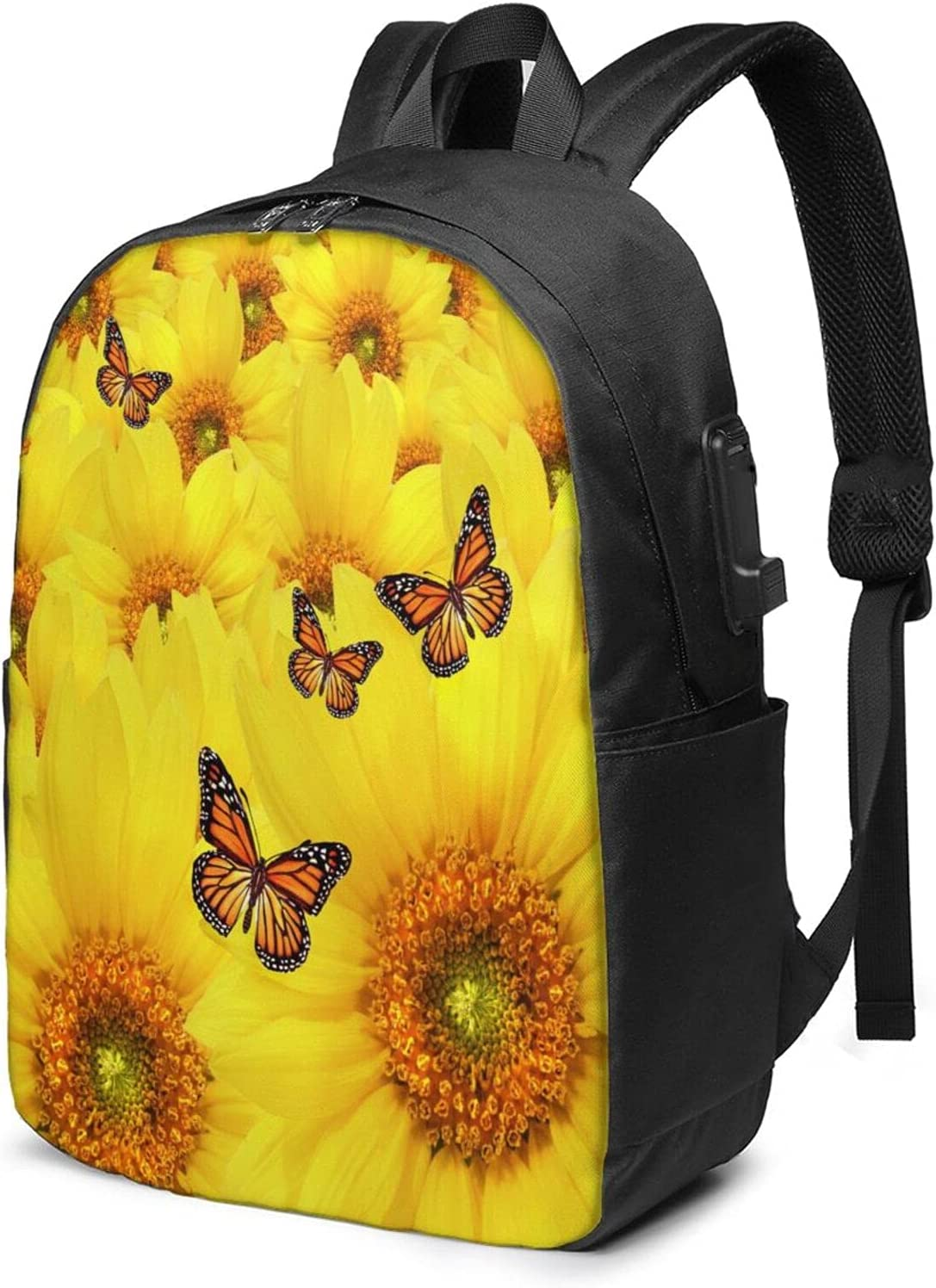Yellow Max 44% OFF Sunflowers Laptop Backpack For with Daypack Adult Usb security